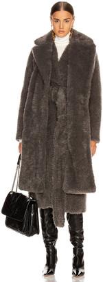 Helmut Lang Shaggy Faux Fur Belted Coat in Charcoal Melange | FWRD