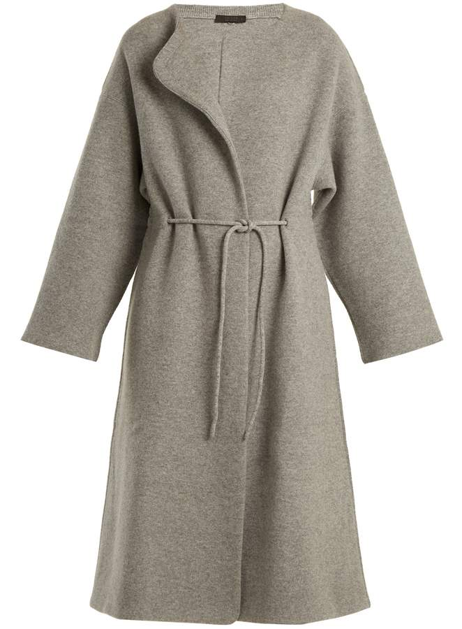 The Row Mani collarless wool-blend coat