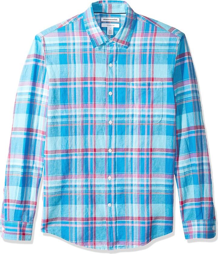 Essentials Mens Regular-fit Short-Sleeve Plaid Linen Shirt