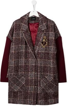 John Richmond Junior TEEN Prince of Wales check coat