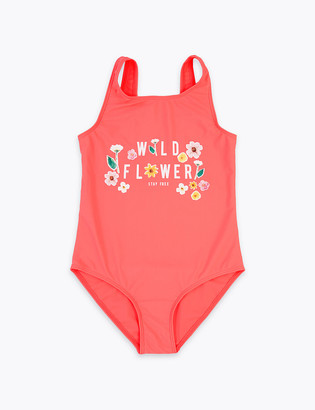 Marks and Spencer Wild Flower Slogan Swimsuit (6-16 Years)
