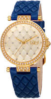 Burgi Women's Crystal And Genuine Leather Watch