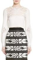 Oscar de la Renta Women's Guipure Lace Silk Top