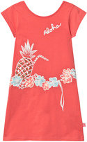 Billieblush Coral Jersey Dress with Sequin Pineapple Print with Heart Back
