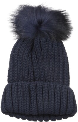 La Fiorentina Women's Knit Beanie with Fur Pom
