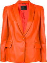 Giorgio Armani one-button blazer - women - Silk/Lamb Skin - 42