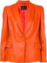 Giorgio Armani one-button blazer - women - Silk/Lamb Skin - 44