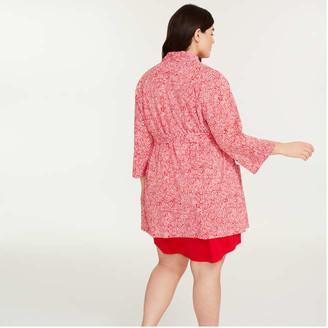 Joe Fresh Women+ Essential Jersey Robe, Dark Pink (Size 1X)