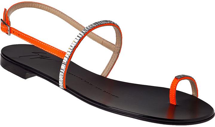 Giuseppe Zanotti Flat Sandal Fluorescent Orange Leather