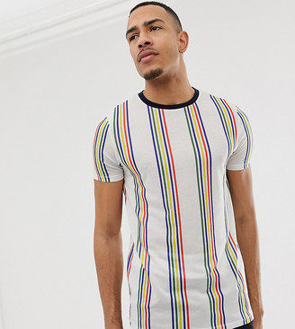 ASOS DESIGN Tall t-shirt with rainbow stripe
