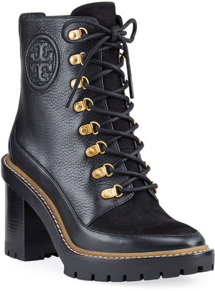 Tory Burch Miller Mixed Leather Lug-Sole Combat Booties