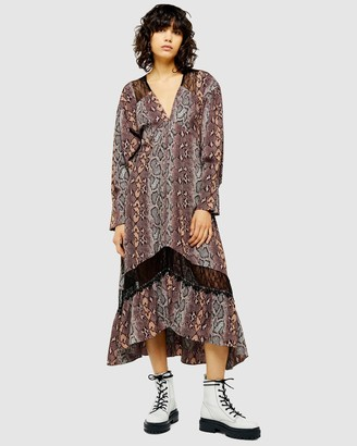 Topshop Snake Lace Trim Smock Dress