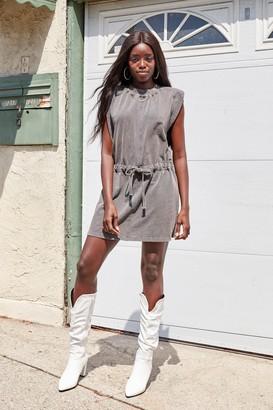 Nasty Gal Womens Please and Tanks Tie Waist Mini Dress - Grey