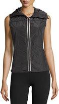 Neiman Marcus Funnel-Neck Quilted Tech Vest, Black