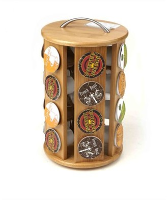 Mind Reader Bamboo K-Cup Single Serve Coffee Pod Storage Organizer Carousel 24 Capacity , Brown