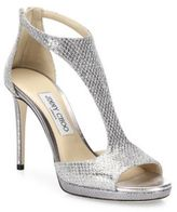 Jimmy Choo Lana 100 Glitter & Leather T-Strap Sandals