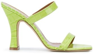 Paris Texas Crocodile Embossed Heeled Sandals
