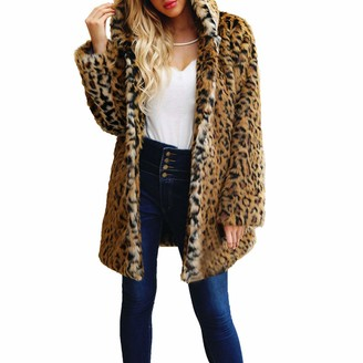 Lazzboy Womens Coat Parka Jacket Faux Fur Fluffy Leopard Dot Print Winter Warm Fashion Hooded Outerwear(L