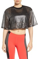 Ivy Park Women's Metallic Mesh Crop Tee