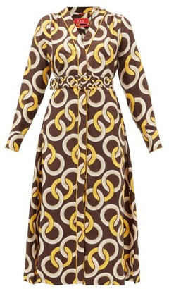 F.R.S For Restless Sleepers F.R.S – For Restless Sleepers Clizio Belted Chain-print Silk-satin Dress - Womens - Brown Multi