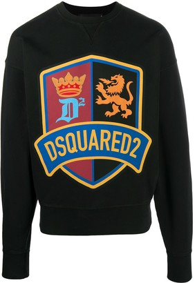 DSQUARED2 Crest Logo Cotton Sweatshirt