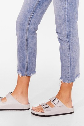 Nasty Gal Womens Buckle the System Faux Leather Footbed Sandals - Grey