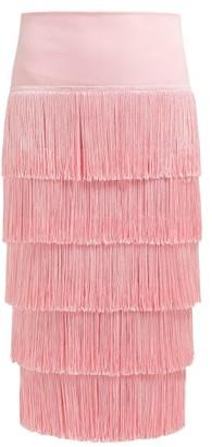 Norma Kamali Tiered-fringe Stretch-jersey Pencil Skirt - Pink
