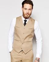 Asos Skinny Waistcoat In Camel