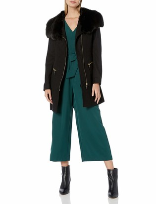 Via Spiga Women's Asym Wool Coat with Oversized Faux Fur Collarr