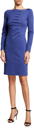 Giorgio Armani Long-Sleeve Ruched Matte Jersey Dress