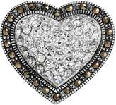 Tori Hill Crystal and Marcasite Sterling Silver Heart Pin
