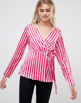 Pieces Disha stripe wrap blouse-Pink