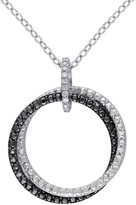 Two-Tone Textured Double Circle & Diamond Pendant Necklace - 0.05 ctw
