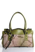 Burberry Patchwork Straw Gunmetal Tone Green Leather Contrast Satchel Handbag
