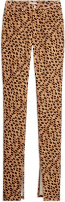 WeWoreWhat Stiletto High Waist Split Hem Leopard Skinny Jeans