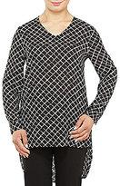 Allison Daley Petites Long Sleeve Sketch Grid Print Hi-Lo Tunic