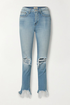 L'Agence High Line Cropped Distressed Skinny Jeans - Light denim