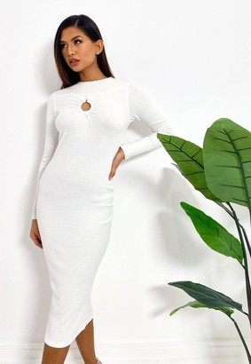 Missguided White Rib Ring Detail Midi Dress