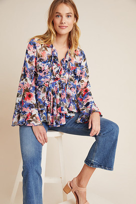 MISA Blossom Ruffled Blouse By in Blue Size XS