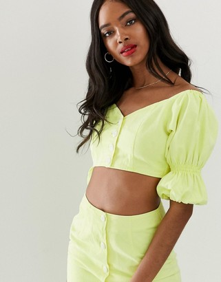 Asos DESIGN denim co-ord puff sleeve crop top in washed neon lime