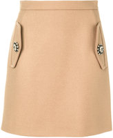 No.21 embellished mini skirt - women - Polyamide/Cupro/Cashmere/Wool - 38