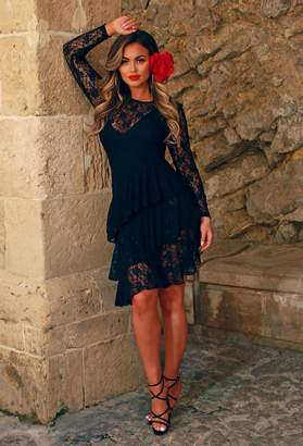 Pink Boutique Ciao Babe Black Lace Sheer Ruffle Midi Dress