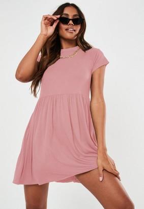 Missguided Blush Short Sleeve Smock Dress
