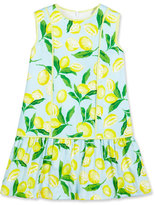 Oscar de la Renta Painted Lemons Poplin Shift Dress, Yellow, Size 4-14