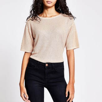 River Island Womens Rose Gold diamante knitted T-shirt