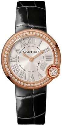 Cartier Ballon Blanc de 18K Rose Gold, Diamond & Black Alligator-Strap Watch