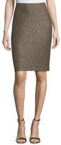 St. John Casablanca Glimmer-Knit Pencil Skirt, Caviar/Gold