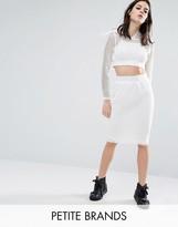 Noisy May Petite Kicks Back Mesh Grid Bodycon Skirt
