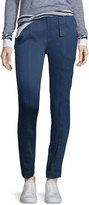 Vince Linen-Blend Belted Trousers, Blue Marine