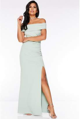 Quiz Sage Green Bardot Ruched Split Maxi Dress